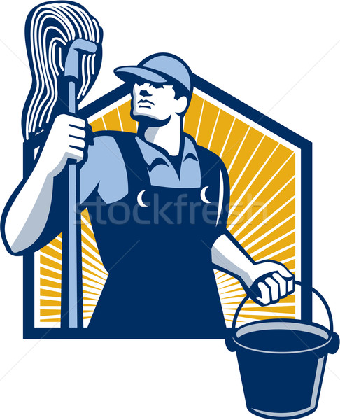 Janitor Cleaner Holding Mop Bucket Retro Stock photo © patrimonio