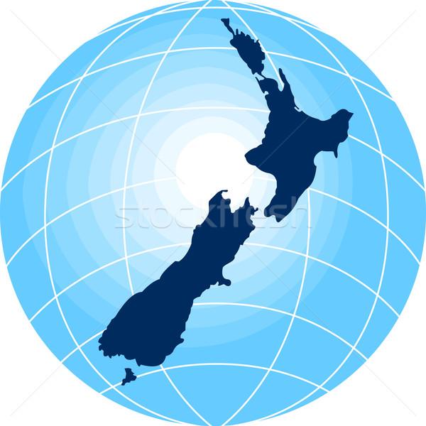 map of New Zealand with globe in background Stock photo © patrimonio