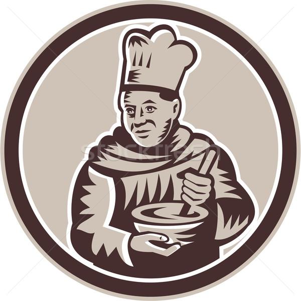Chef Cook Mixing Bowl Woodcut Retro Stock photo © patrimonio