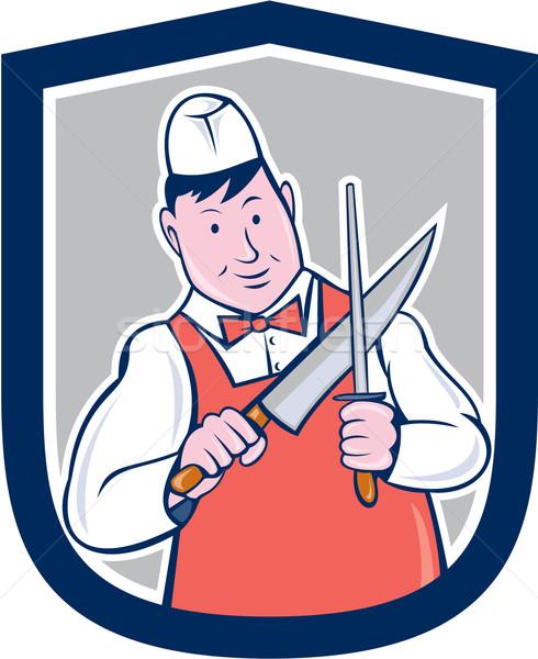 Rzeźnik nóż cartoon ilustracja pracownika Zdjęcia stock © patrimonio