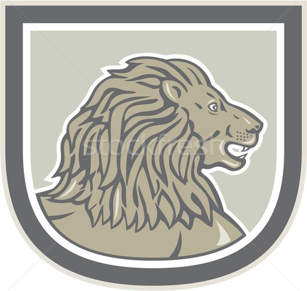 Lion Big Cat Head Side Shield Stock photo © patrimonio