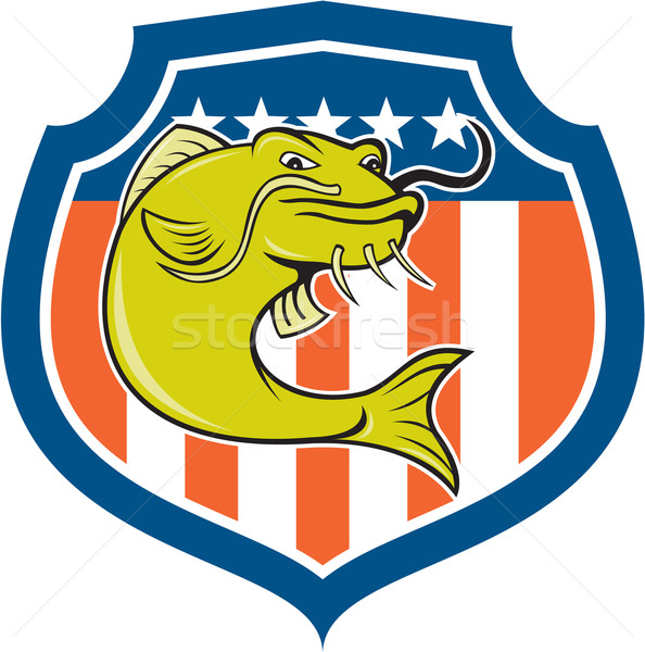 Catfish Angryfish Shield Cartoon Stock photo © patrimonio