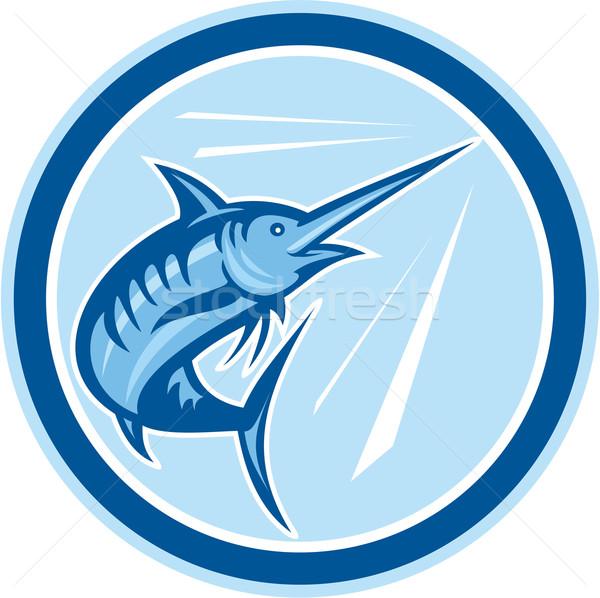 Blauw vis springen cirkel cartoon illustratie Stockfoto © patrimonio
