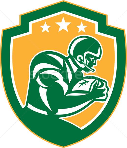 American Football Player Running Shield Retro Stock photo © patrimonio