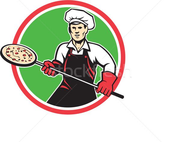 Pizza tart héj kör retro illusztráció Stock fotó © patrimonio