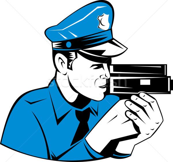 Policier vitesse caméra illustration vue de côté isolé Photo stock © patrimonio