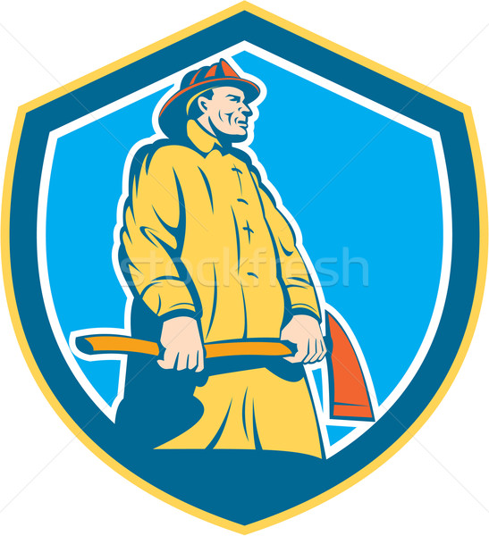Fireman Firefighter Standing Axe Shield Retro Stock photo © patrimonio