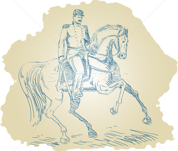 American revolutionary officer riding a horse white background Stock photo © patrimonio