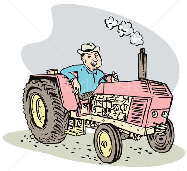 Homme disque tracteur cartoon illustration conduite Photo stock © patrimonio