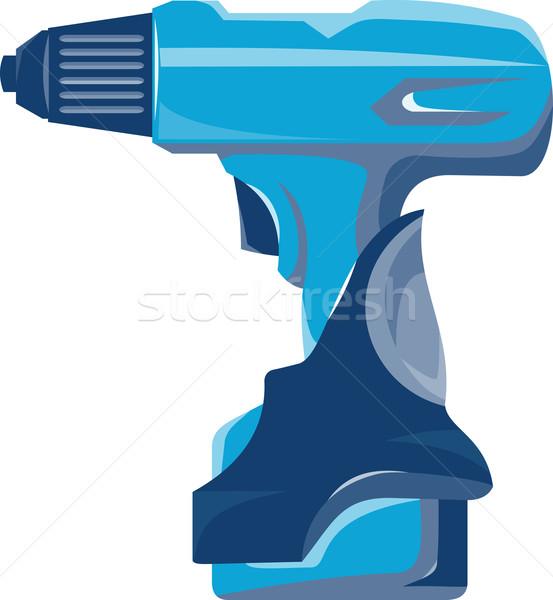 Cordless Drill Side Retro Stock photo © patrimonio