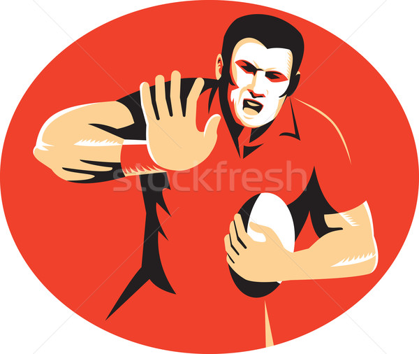 Rugby Player Fending Ball Retro Stock photo © patrimonio