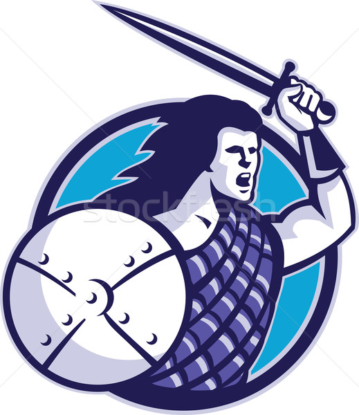 Highlander Scottish Scot Warrior Sword Shield Stock photo © patrimonio