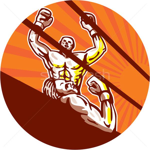 Amator bokser zwycięski kółko cartoon ilustracja Zdjęcia stock © patrimonio
