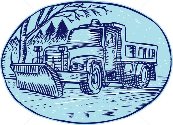 Sneeuw vrachtwagen ovaal handgemaakt stijl Stockfoto © patrimonio