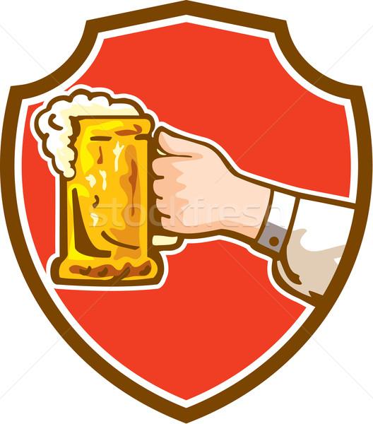 手 マグ ビール クレスト レトロな ストックフォト © patrimonio