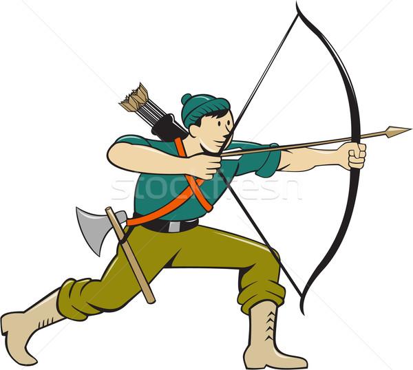 лучник долго лук стрелка Cartoon иллюстрация Сток-фото © patrimonio