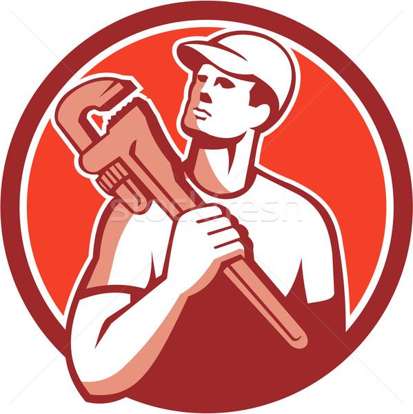 Handlowiec hydraulik klucz kółko retro ilustracja Zdjęcia stock © patrimonio