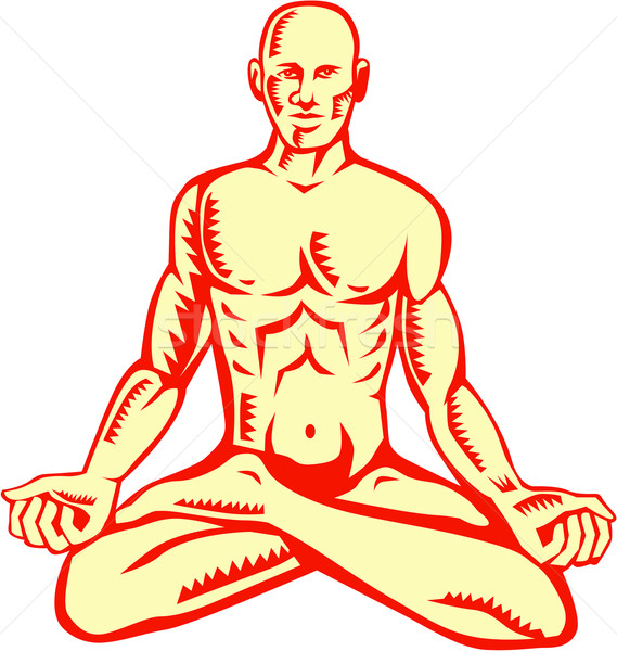 Man Lotus Position Asana Woodcut Stock photo © patrimonio