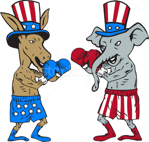 Democrat Donkey Boxer and Republican Elephant Mascot Cartoon Stock photo © patrimonio