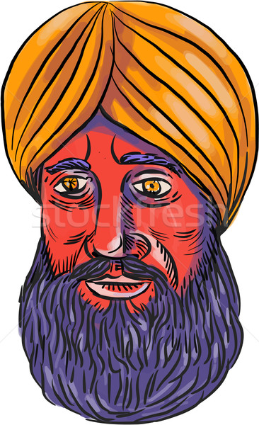 Sikh Turban Beard Watercolor Stock photo © patrimonio