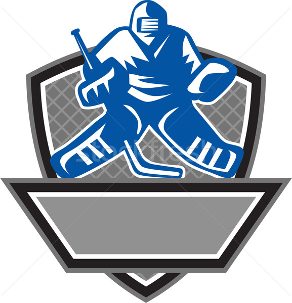 Ice Hockey Goalie Crest Retro Stock photo © patrimonio