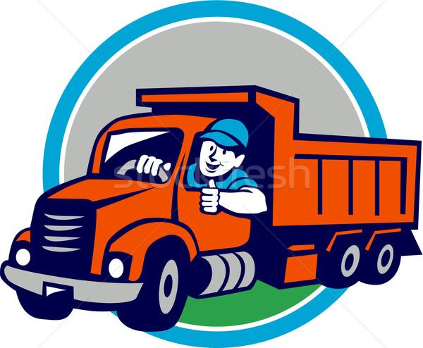 Dump Truck Driver Thumbs Up Circle Cartoon Stock photo © patrimonio