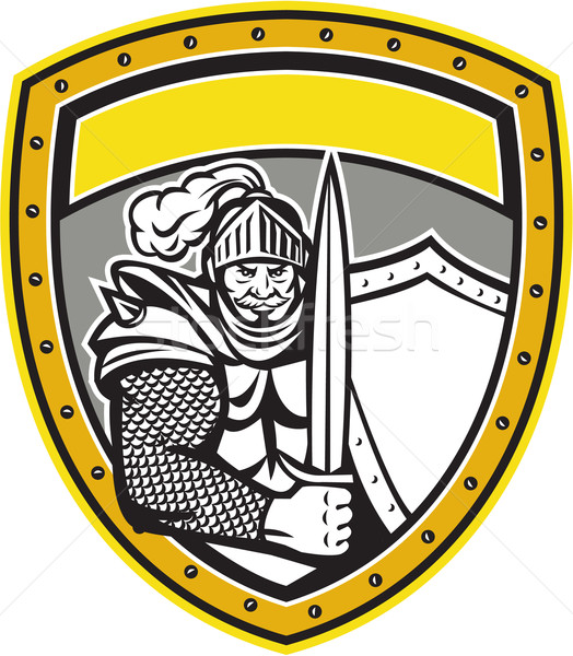 Knight Full Armor Open Visor Sword Shield Crest Retro Stock photo © patrimonio