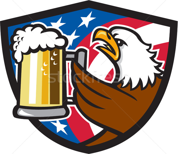 Bald Eagle Hoisting Beer Stein USA Flag Crest Retro Stock photo © patrimonio