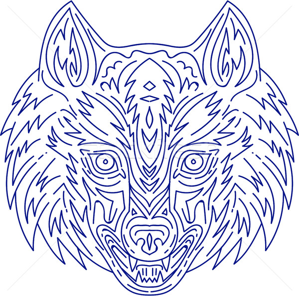 Grey Wolf Head Mono Line Stock photo © patrimonio