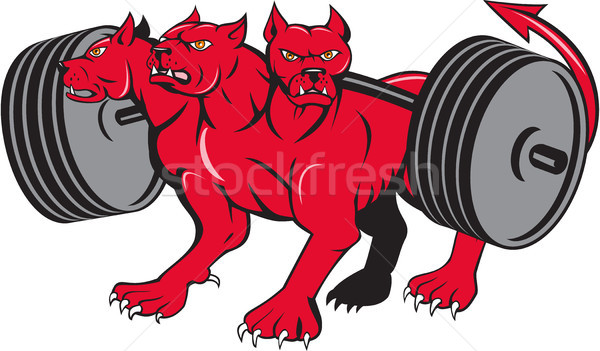 Cerberus Multi-headed Dog Hellhound Powerlifting Barbell Cartoon Stock photo © patrimonio