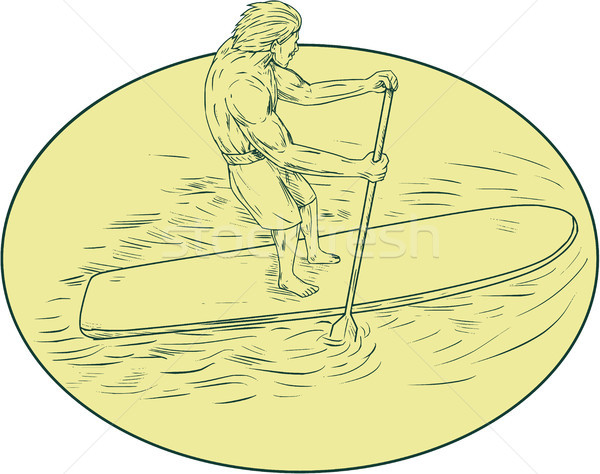 Surfer Dude Stand Up Paddle Oval Drawing Stock photo © patrimonio