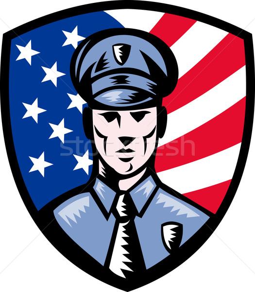 Rendőr rendőrtiszt amerikai zászló pajzs illusztráció szemben Stock fotó © patrimonio