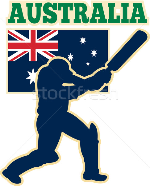 cricket sports batsman Australia flag Stock photo © patrimonio