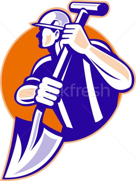 Pracownik budowlany szpadel w stylu retro ilustracja łopata Zdjęcia stock © patrimonio