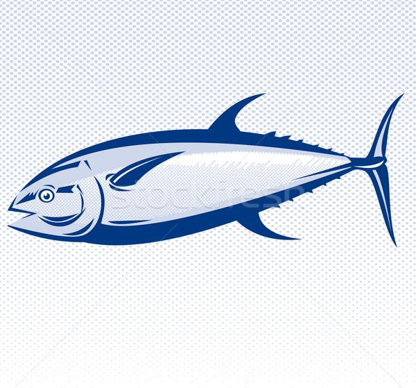 Atum peixe ilustração lado retro Foto stock © patrimonio