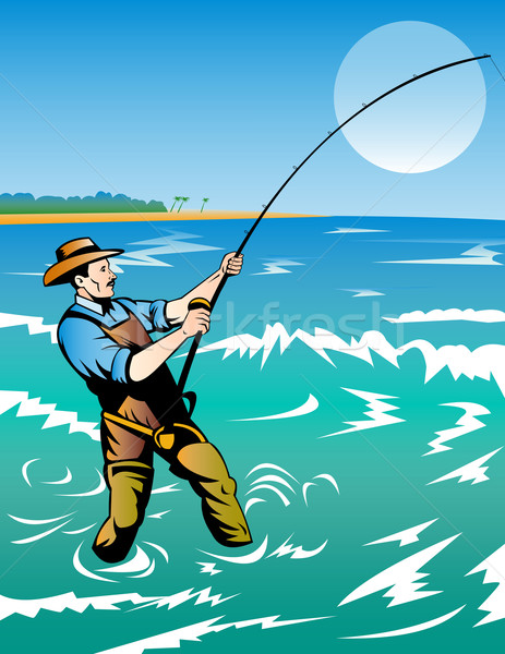 fisherman surf casting Stock photo © patrimonio