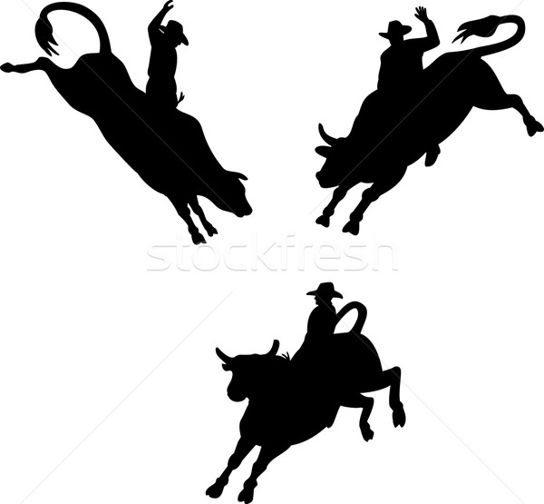 Rodeo Cowboy Bull Riding Retro Stock photo © patrimonio