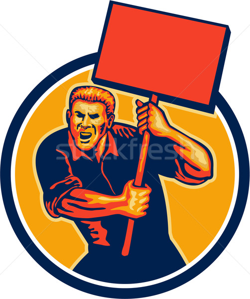Protester Activist Union Worker Placard Sign Retro Stock photo © patrimonio