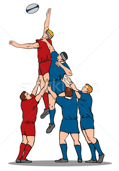 Rugby joueur balle illustration style rétro Photo stock © patrimonio