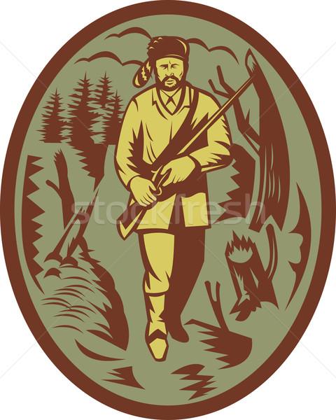 Pionier jager geweer illustratie boom bos Stockfoto © patrimonio