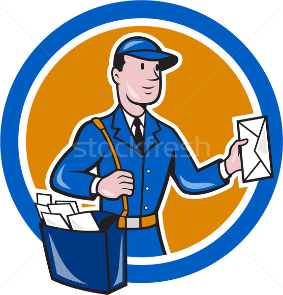 Mailman Postman Delivery Worker Circle Cartoon Stock photo © patrimonio