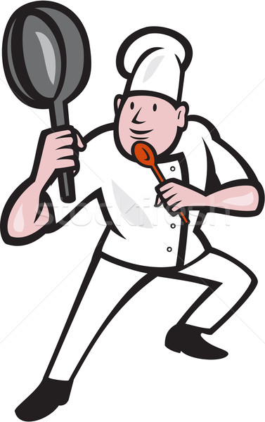 Chef Cook Holding Frying Pan Kung Fu Stance Cartoon Stock photo © patrimonio