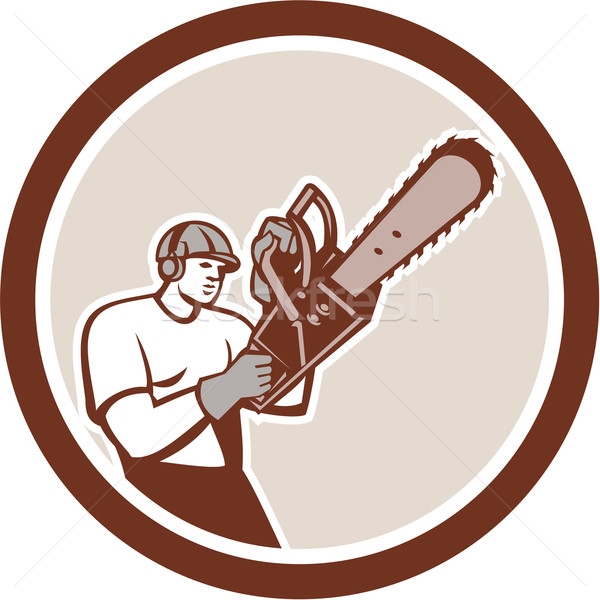 Lumberjack Tree Surgeon Arborist Chainsaw Circle Retro Stock photo © patrimonio