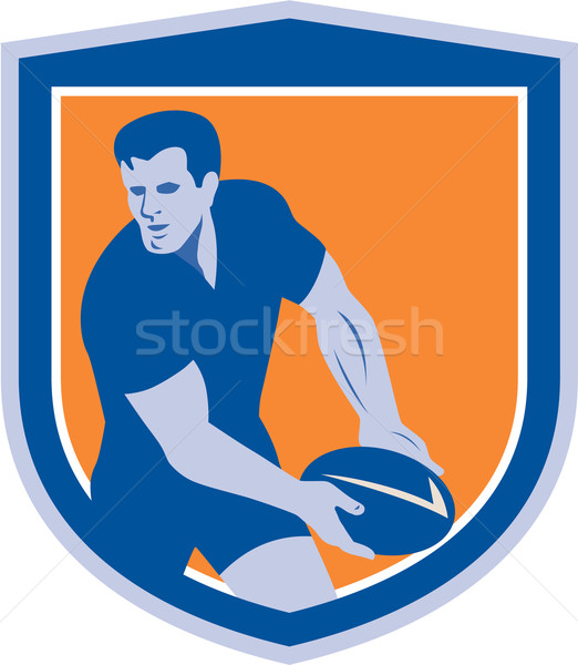 Rugby Player Passing Ball Shield Retro Stock photo © patrimonio