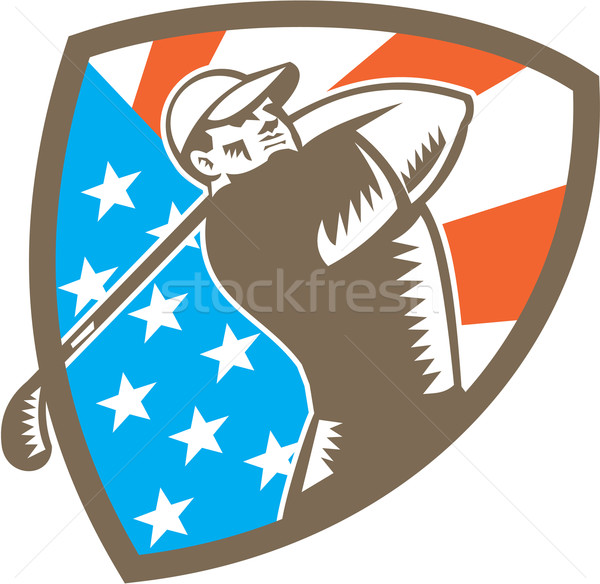 American Golfer Tee Off Golf Shield Woodcut Stock photo © patrimonio