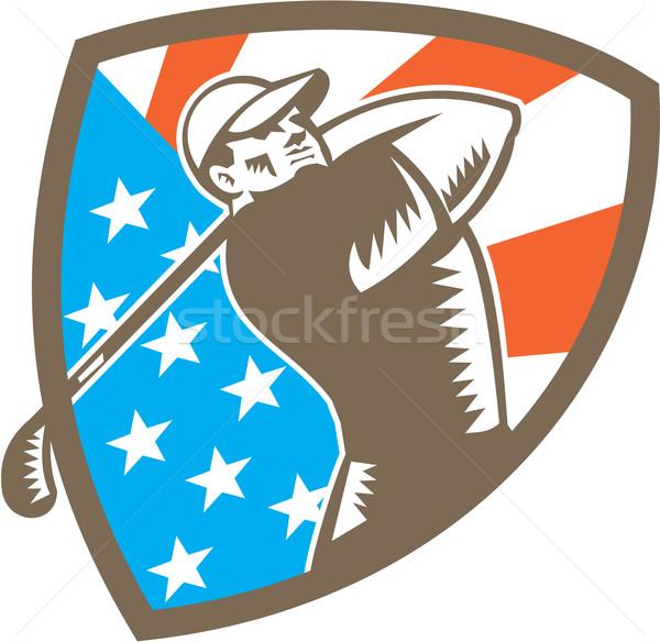 американский гольфист гольф щит иллюстрация Сток-фото © patrimonio