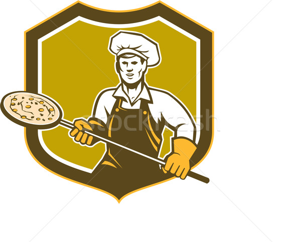 Pizza Maker Holding Peel Shield Retro Stock photo © patrimonio