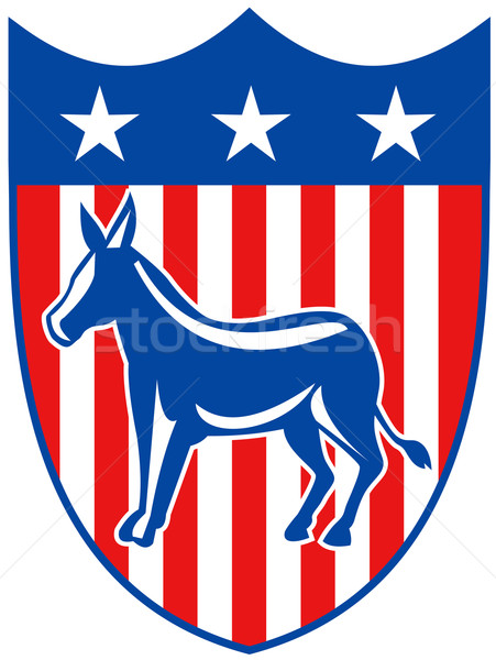 Democrat shield donkey stars and stripes 3D Stock photo © patrimonio