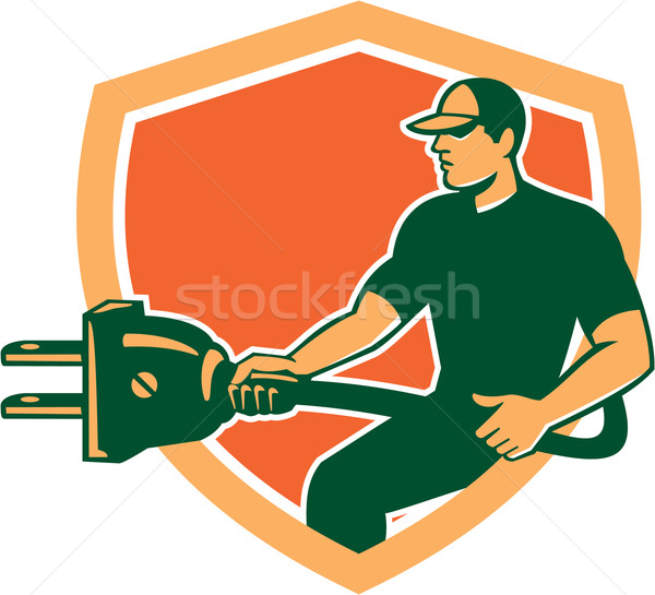 Electrician Carrying Electric Plug Shield Retro Stock photo © patrimonio