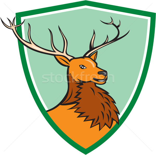 Red Stag Deer Head Shield Cartoon Stock photo © patrimonio